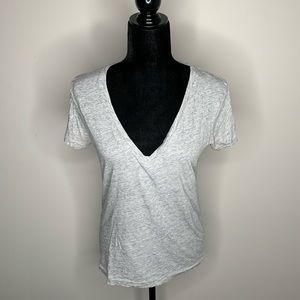 J. Crew Gray Vintage Cotton V-neck Tee Shirt M